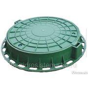 """Люк полимерный для смотровых колодцев (тип """"Л""""), с замком, зеленый фото"""