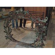 Кованое зеркало с розами фото