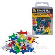 Силовые кнопки-гвоздики BRAUBERG (БРАУБЕРГ), цветные, 50 шт., в пластиковой коробке фото