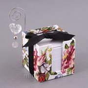 """Блок листов для записей """"цветы на белом"""" 9*9 см. (850462) фото"""