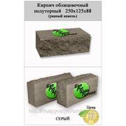 Кирпич полуторный облицовочный СКВ-2-Д 125х250х88 (рваный камень) серый фото