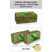 Кирпич полуторный облицовочный СКВ-2-Д 125х250х88 (рваный камень) желтый фото