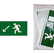 """Знак """"Направление к эвакуационному выходу налево вниз"""" 350х124мм для ССА TDM фото"""