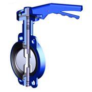 Затвор дисковый поворотный GROSS, DN 500, PN 10, чугун GGG40, диск хром. чугун GGG40, редуктор (под фланцы PN 16) фото