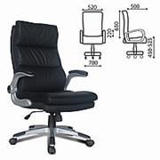 """Кресло для руководителя Brabix """"Fregat EX-510"""", рециклированная кожа, черное фото"""