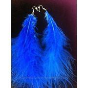 Серьги-перья синие фото