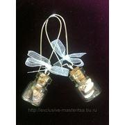 Серьги-бутылочки с глицерином морские фото