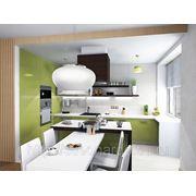 Разработка дизайна интерьера гостинной и кухни, отделочные работы. фото