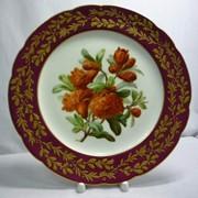 """3242/06 - Тарелка """"Красные цветы"""". Фарфор, роспись, позолота фото"""