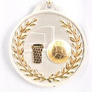 Медаль рельефная Баскетбол серебро фото