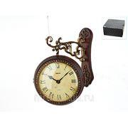 """Часы настенные (двухсторонние) """"золотой вояж"""" 37*12*50см. (d=27см. батарейка-1""""aa"""" 2шт.) (с декоративными стразами) (подарочная упаковка) (861162) фото"""