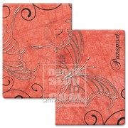 Обложка для паспорта Бабочки красный фон Артикул: 038004обл002 фото