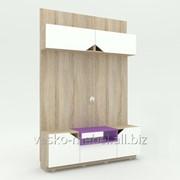 ТВ Тумба, Аванти 702 Корпус Дуб сонома, фасады белые, вставка фиолетовая фото