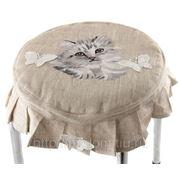 """Сидушка на стул """"котенок"""" лен 100%,круглая d=35см (728746) фото"""