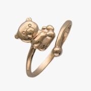 Кольцо из красного золота с эмалью Мишка фото