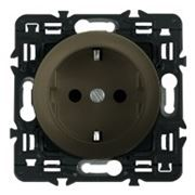 Розетка электрическая с заземлением с защитными шторками Legrand Celiane с лицевой панелью (графит) фото