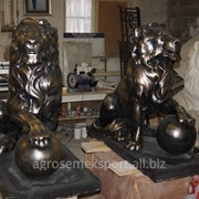 Скульптура льва, материал полимер, размер ДхВхШ (мм): 1200 х 1100 х 600 фото