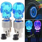 2 x лампы-черепа ниппель-лампы на колеса-шины автомобилей, мотоциклов, велосипедов – голубой светFLD-61349 фото
