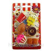 Ластики в наборе cola, пончик, круасан n1005 (818243) фото