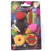 Ластики в наборе:2мороженных,хот-дог,клубника,пончик (848588) фото