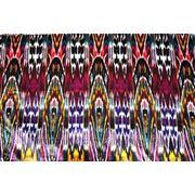 Ткань искусственный бархат с узбекским орнаментом (т.красный) фото