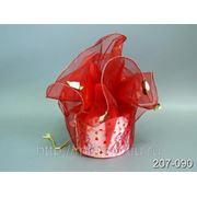 Органза для упаковки бордо с цветоком d=74см. (606359) фото
