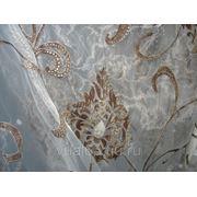 """Ткань Органза Гарден, """"серая, коричневый вензель"""" фото"""
