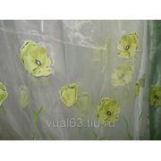 """Ткань Органза """"Зеленые маки"""" фото"""