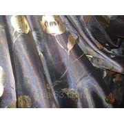 Ткань Органза серо-сиреневая. печать золото фото