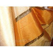 Ткань Органза оранжевая полоса фото