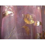 Ткань Органза сиреневая, печать золото фото