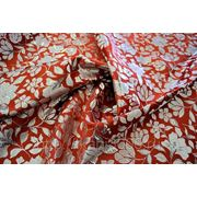 """Китайский шелк (костюмный) красный"""" Белые цветы """" (ширина 150 см) фото"""