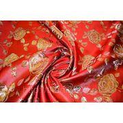 Китайский шелк (костюмный) красный с цветами (ширина 140 см) фото