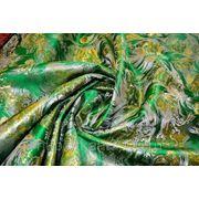 """Китайский шелк (костюмный) зеленый """"Золотые цветы"""" (ширина 140 см) фото"""