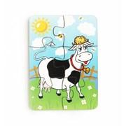 Пазл 6 элементов Корова на лугу фото