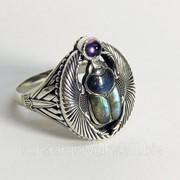Серебряный перстень унисекс Скарабей с лабрадоритом и аметистом КС 001 фото