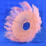 Plastiflora Каркас для букета 25см сизаль гл с перьями светло-розовый фото
