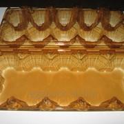 Пластиковая упаковка на 10 яиц ПЭТ с плоской крышкой,коричневая прозрачная фото