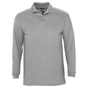 Рубашка поло мужская с длинным рукавом WINTER II 210 серый меланж, размер XXL фото