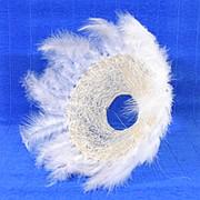 Каркас для букета 25см сизаль гл с перьями белый фото