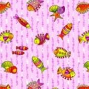 Ткань постельная Фланель 150 гр/м2 90 см Набивная Рыбки розовый/S852 TDT фото