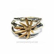 Кольцо серебрянное с золотом Бамбук КСЗ 010 фото