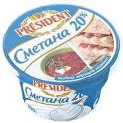Сметана Президент 20% 200г фото
