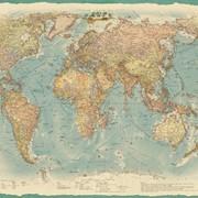 Настенная политическая карта Мира в стиле ретро 1,51х1,05 м фото