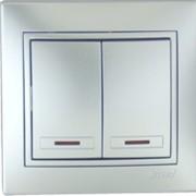 Выключатель двойной с подсветкой 701-1001-112 фото