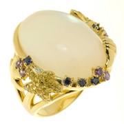 Серебряное позолоченное кольцо с перламутром и цирконами фото