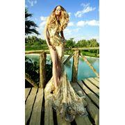 Золотое свадебное платье фото