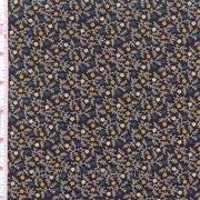 Темно-синяя ткань в мелкий желтый и белый цветочки фото