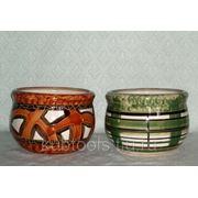 Ромашка № 2 (сложный) керамический горшок с поддоном фото