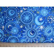 Синяя ткань Звездное небо фото